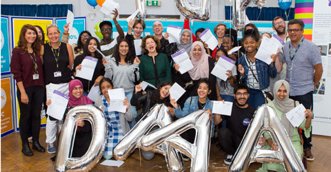 Students are celebrating after achieving their BTEC and A Level results.