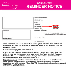 Council tax reminder letter