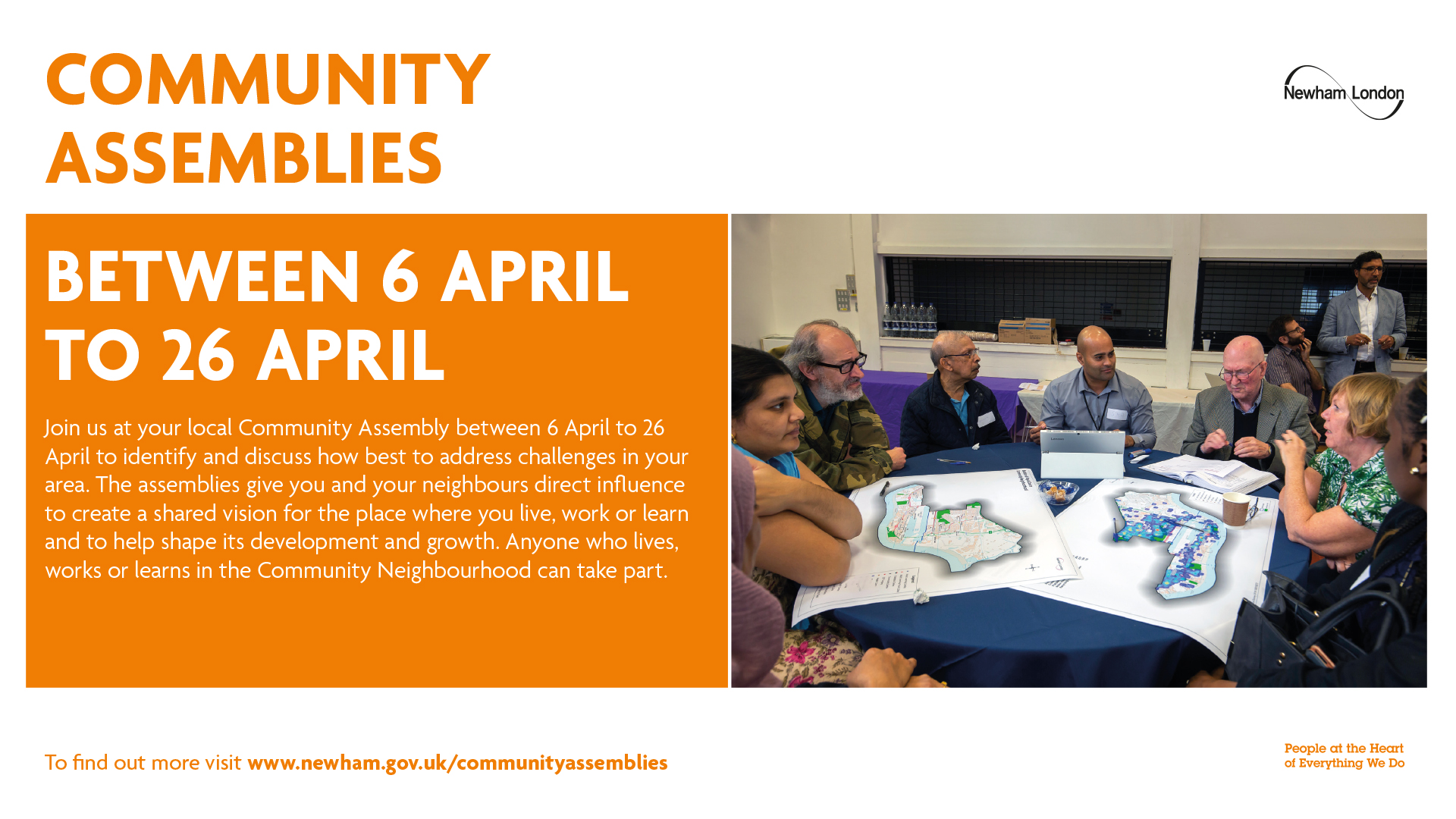 Community assemblies. Between 6 April to 26 April.