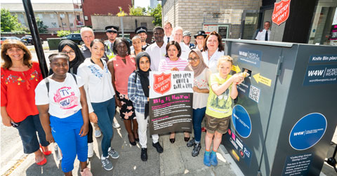 Newham residents come together to support Knife Amnesty Bin.