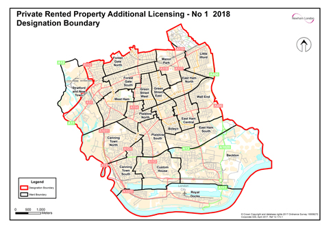 Map showing private rented property additional licensing designation licensing